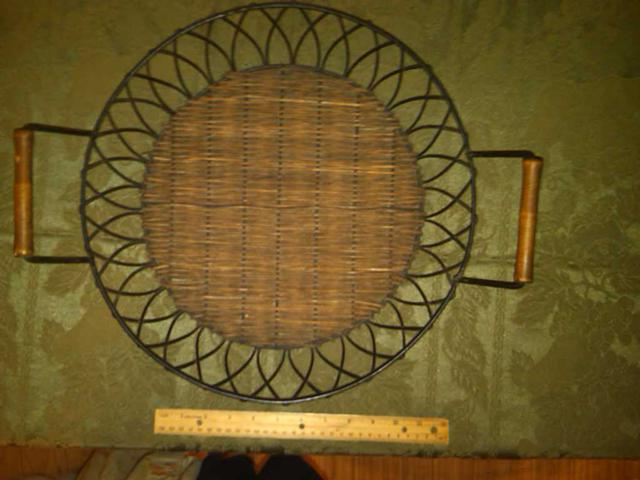 15  Decorative Wicker and Iron Tray With Antique Finish