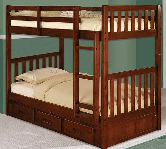 480  New mission style bunk bed with under chest