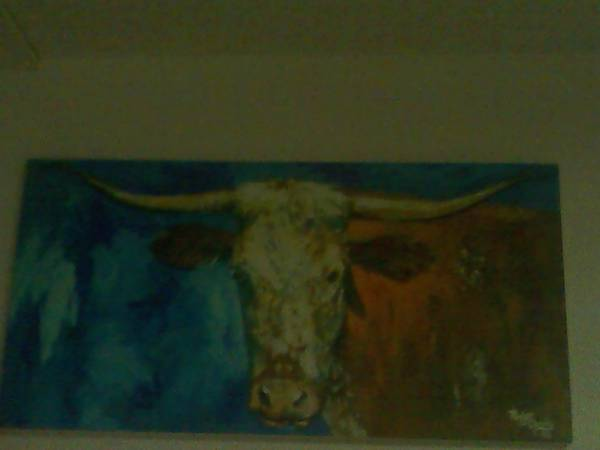 Texas Longhorn Oil on Canvas -   x0024 600  waco